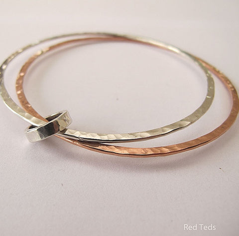 Sterling silver and copper double bangle with spinner ring - Red Ted's Jewellery
