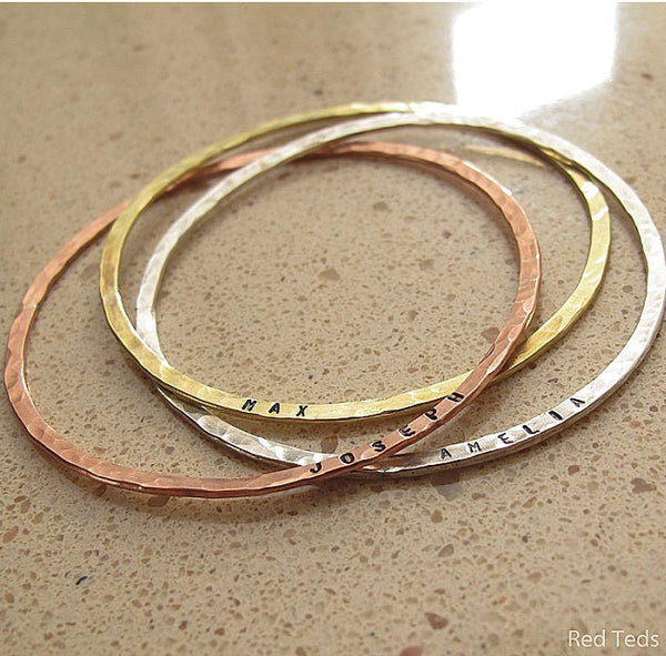 Hammered mixed metal bangle trio - Red Ted's Jewellery