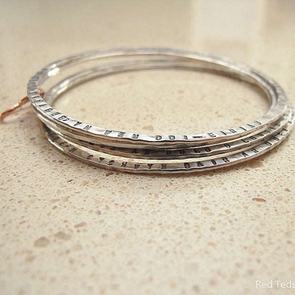 Personalised stacking hammered bangle - Red Ted's Jewellery