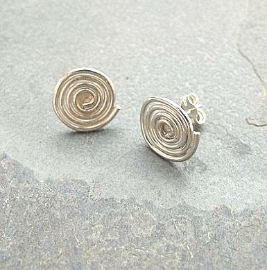 Sterling silver spiral earrings - Red Ted's Jewellery