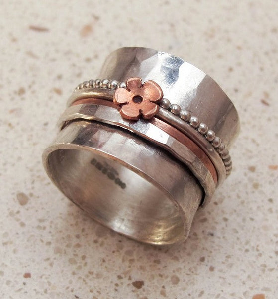 Deep silver spinning ring - Red Ted's Jewellery