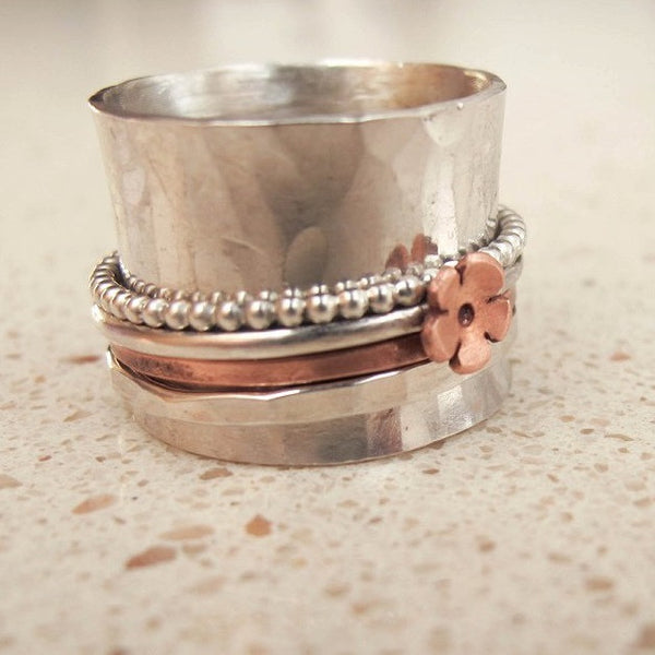 wide band sterling silver spinning ring - Red Ted's Jewellery
