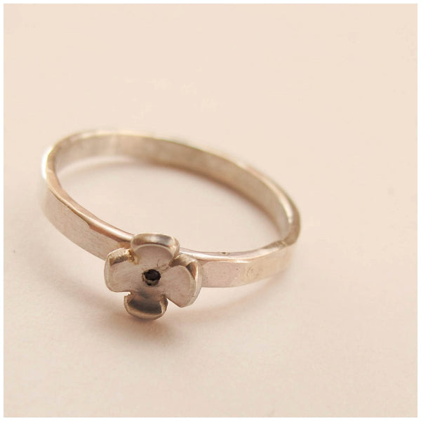 Silver flower stacking ring - Red Ted's Jewellery