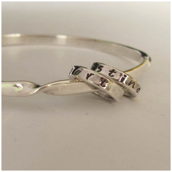 Twisted sterling silver mantra bangle - Red Ted's Jewellery