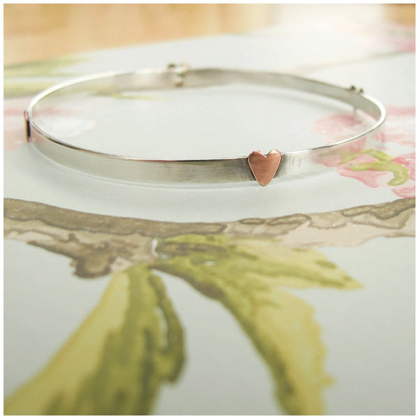 Silver Bangle with Copper Hearts - Red Ted's Jewellery