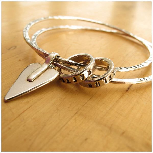Personalised sterling silver name bangle with silver rings - Red Ted's Jewellery