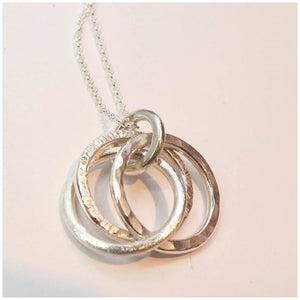 Three ring hammered wedding ring pendant - Red Ted's Jewellery