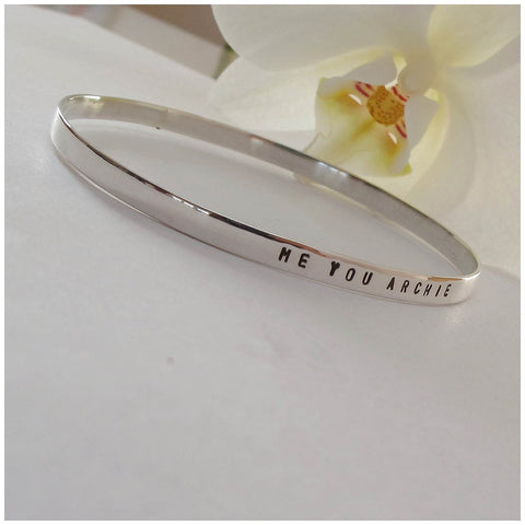 Sterling silver name bangle - Red Ted's Jewellery