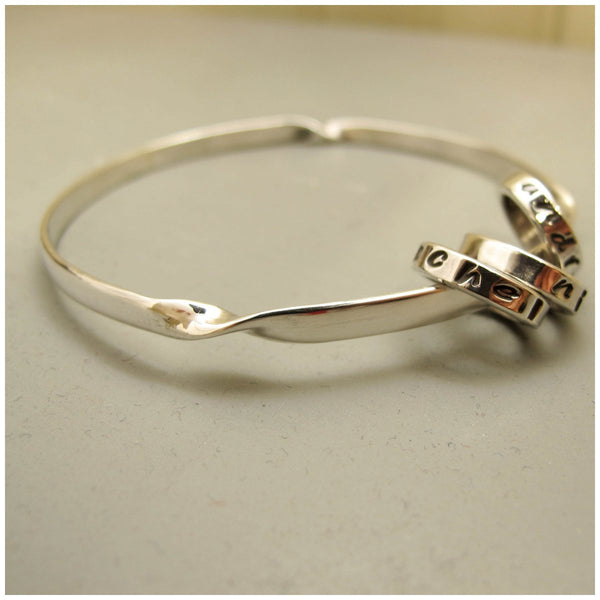 Silver mantra bangle - Red Ted's Jewellery
