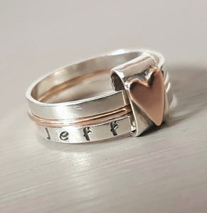 9ct rose gold and sterling silver heart ring - Red Ted's Jewellery
