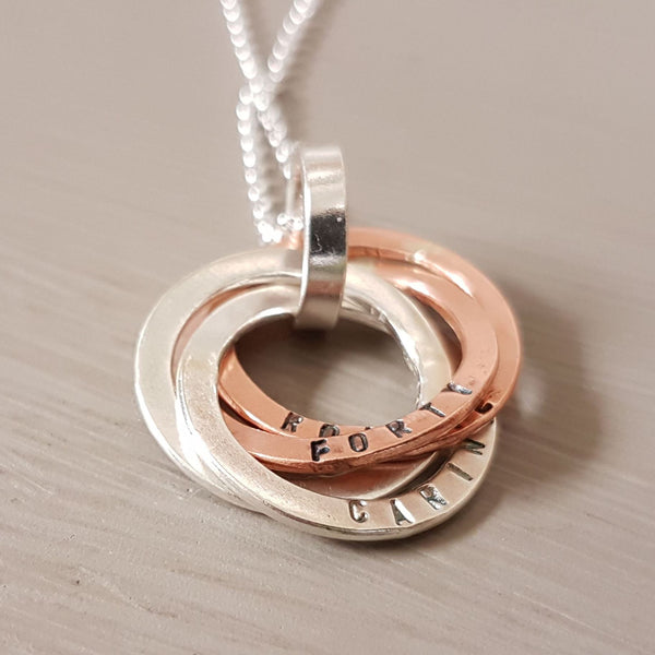 Sterling Silver and copper personalised ring pendant - Red Ted's Jewellery