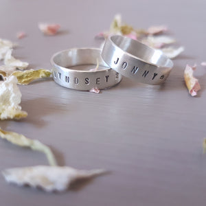 Hand stamped sterling silver wedding band - Red Ted's Jewellery