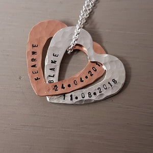 Sterling silver and copper hearts name pendant - Red Ted's Jewellery