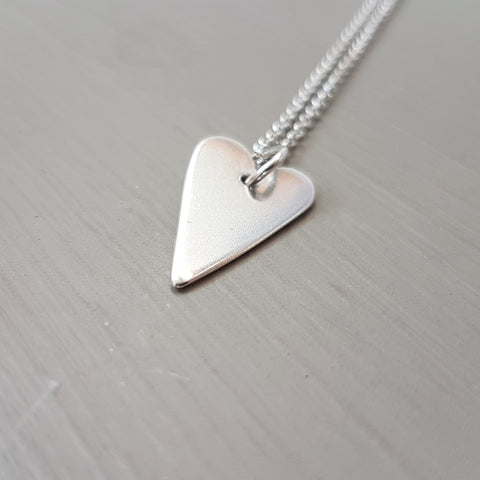 Sterling silver heart pendant with chain - Red Ted's Jewellery