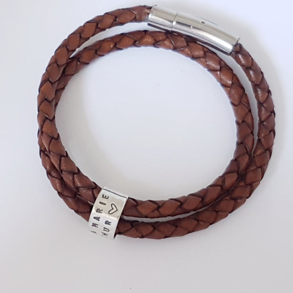 Leather bracelet with sterling silver ring charms - Red Ted's Jewellery