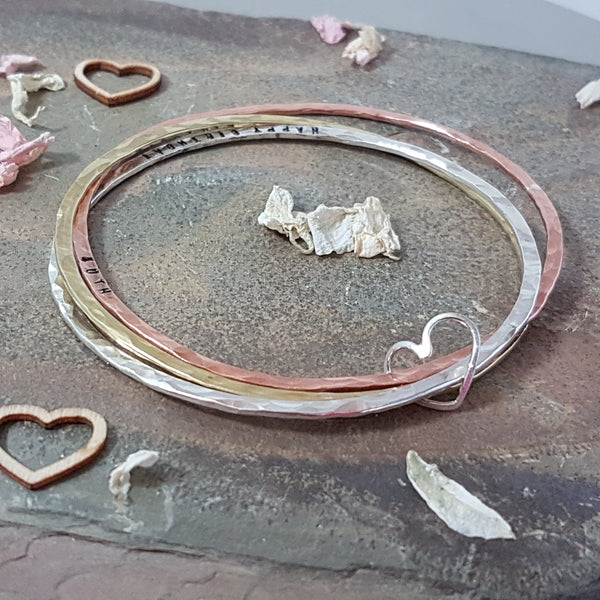 Hammered sterling silver, brass and copper triple bangle - Red Ted's Jewellery