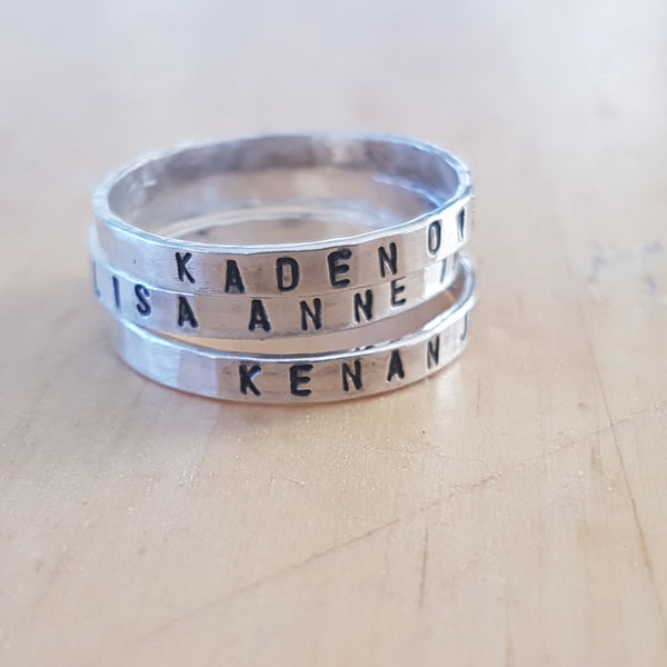 Personalised sterling silver stacking rings - Red Ted's Jewellery