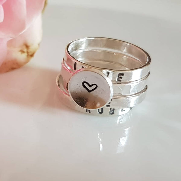 personalised stacking rings