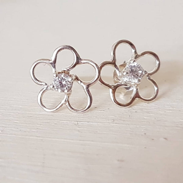Sterling silver wire flowers with crystal centre - Red Ted's Jewellery