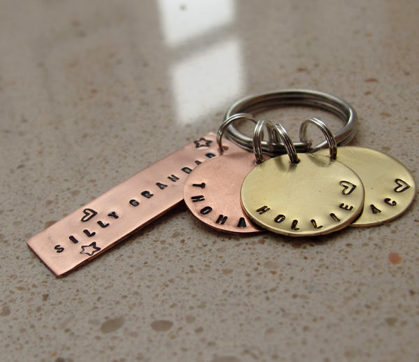 Copper and brass personalised key ring - Red Ted's Jewellery