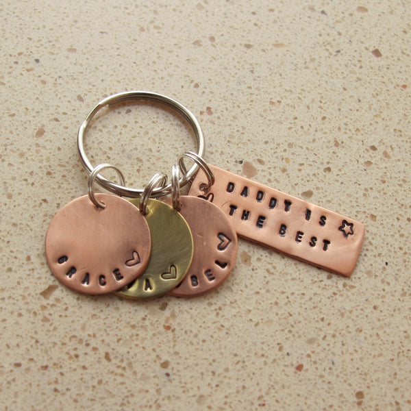 Copper and brass keyring