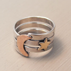 Sterling silver moon and star ring - Red Ted's Jewellery