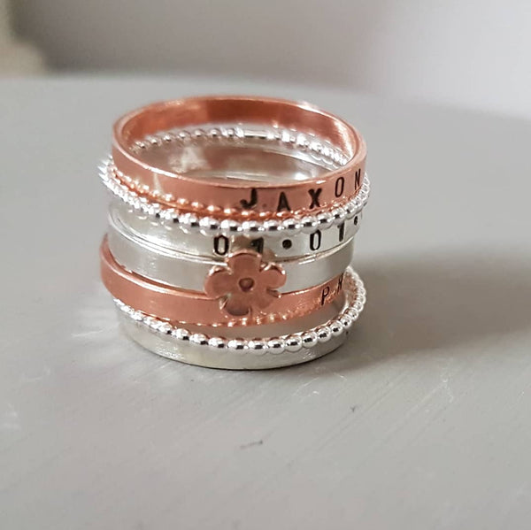 Sterling Silver, copper and brass stacking rings - Red Ted's Jewellery