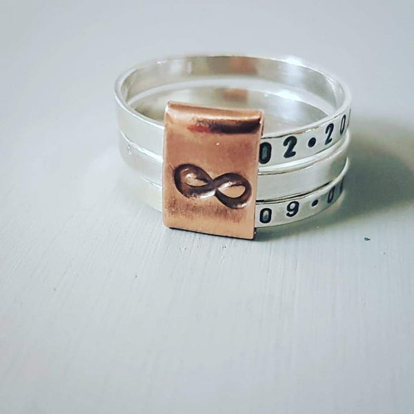 Sterling silver ring with copper or rose gold Infinity spinner - Red Ted's Jewellery