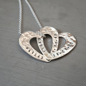 Personalised hearts necklace