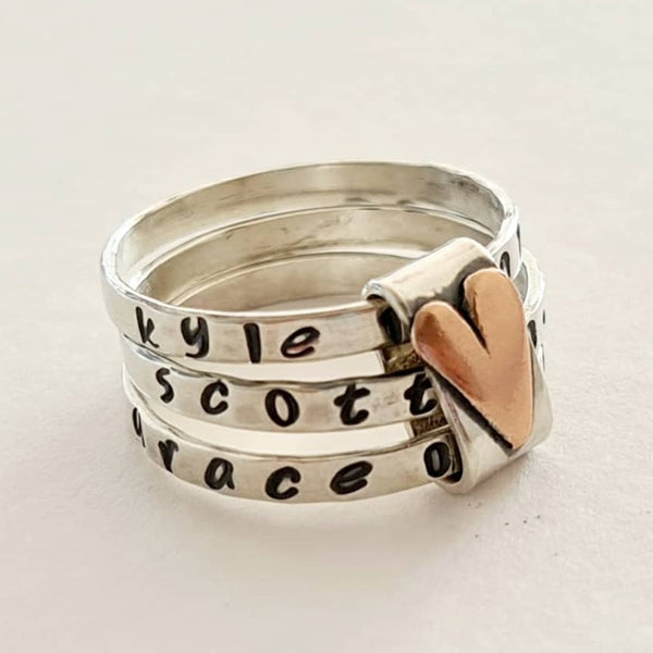personalised silver stacking rings