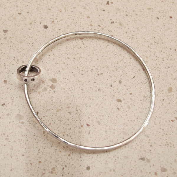 Sterling silver bangle with silver link name ring - Red Ted's Jewellery