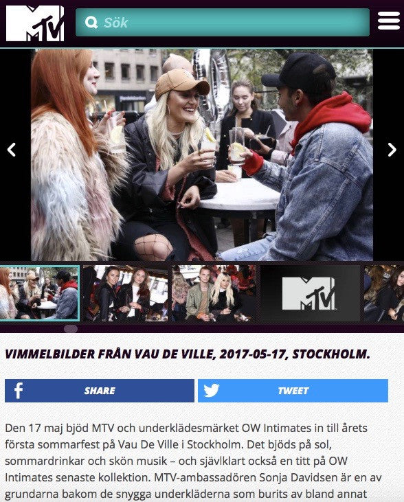 OW INTIMATES official SS17 collection launch party hosted by MTV at Vau De Ville Stockholm