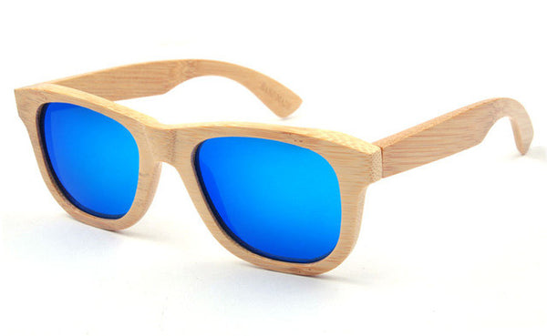 Wooden Sunglasses with Light Brown Frame and Blue Lens