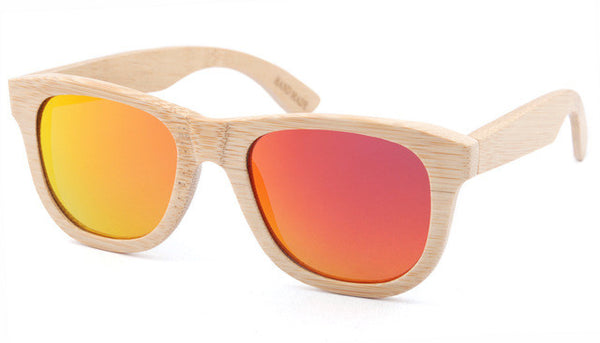 Wooden Sunglasses with Light Brown Frame and Red Lens