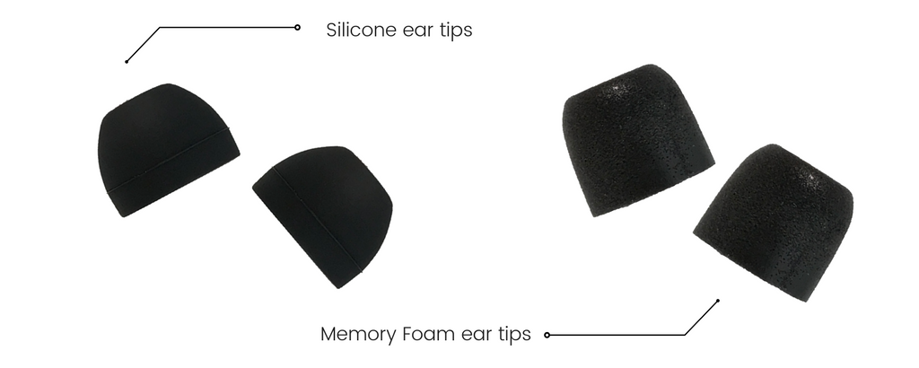 Different ear tips for concert earplugs