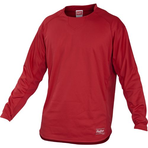 Rawlings Men's Flatback Mesh Long Sleeve Fleece Pullover (avaliable in red,navy,maroon)