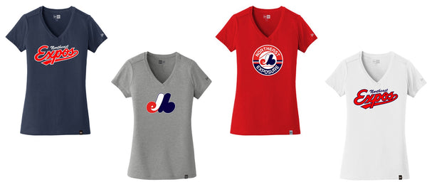 Expos New Era Ladies V-Neck Tee