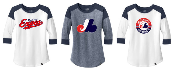 Expos New Era® Ladies Heritage Blend 3/4-Sleeve Baseball Raglan Tee