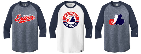 Expos New Era® Heritage Blend 3/4-Sleeve Baseball Raglan Tee