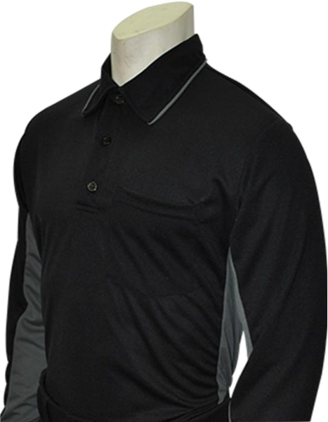 Smitty MLB Long Sleeved Umpire Shirt- Black with Charcoal Grey