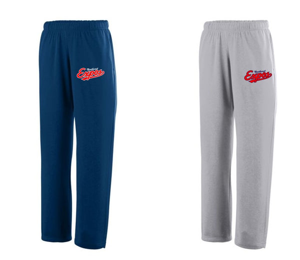 Expos Logo Augusta Performance Open Bottom Fleece Sweatpants (Adult and Youth Sizes Available)