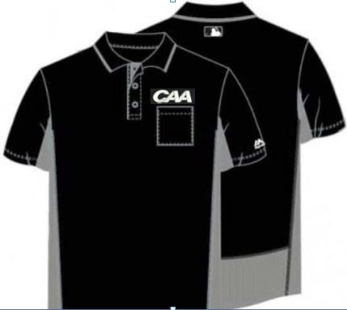 Majestic MLB Short Sleeved Umpire Shirt for CAA - Black with Charcoal Grey