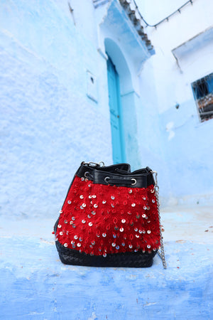 Camelia Crossbody Black & Red Mouzouna Bag