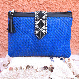 LILIA HANDBRAIDED CLUTCH -COBALT BLUE-