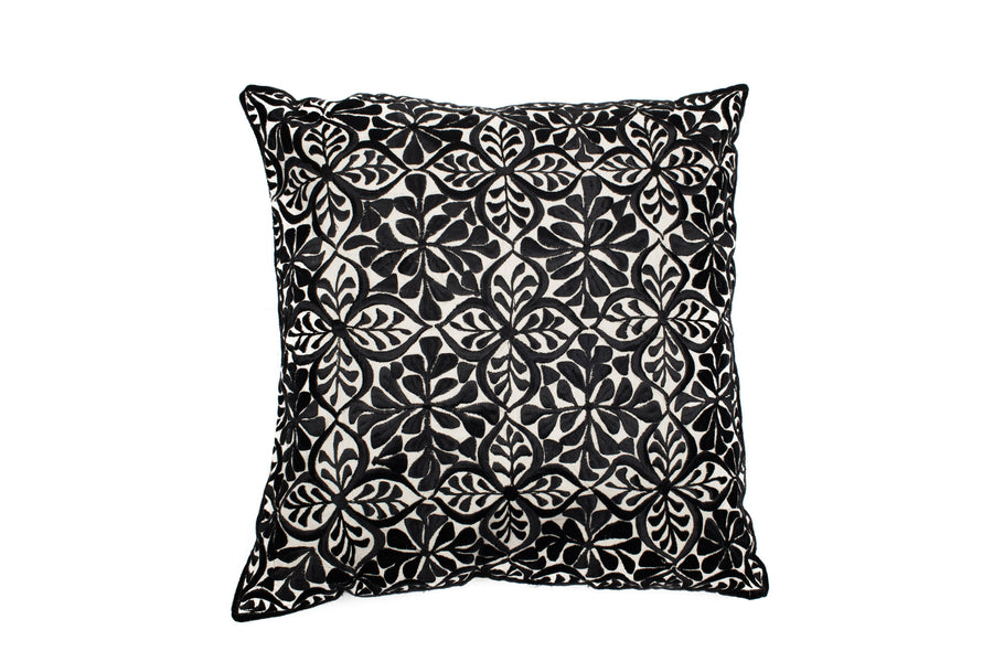 MOROCCAN EMBROIDERED PILLOW CASE -TANGIER BLACK-
