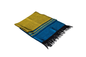 LIGHT HANDWOVEN MOROCCAN SABRA SILK SCARF BLUE & YELLOW