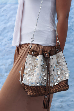 Camelia Crossbody Brown & White Mouzouna Bag
