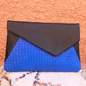 Pattie Braided Clutch in Cobalt