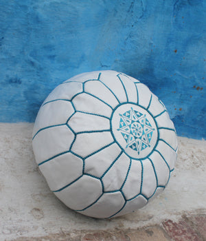 HANDMADE EMBROIDERED POUF WHITE & BLUE