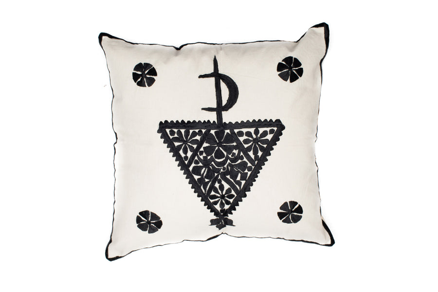 MOROCCAN EMBROIDERED PILLOW CASE-TAZERZIT BLACK-